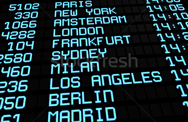 Flughafen Bord internationalen Abfahrten Display Stock foto © NiroDesign