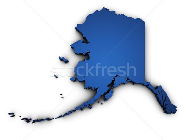 Carte Alaska 3D forme bleu Photo stock © NiroDesign