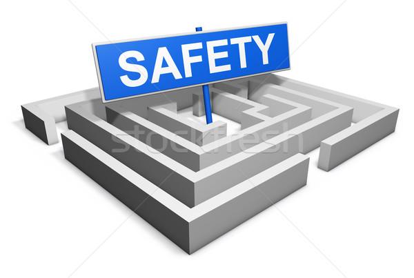 Seguridad laberinto azul objetivo signo 3D Foto stock © NiroDesign