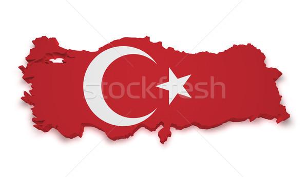 Turquía mapa 3D forma bandera aislado Foto stock © NiroDesign