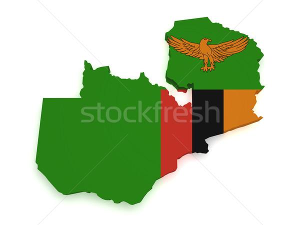 Zambiya harita bayrak 3D biçim yalıtılmış Stok fotoğraf © NiroDesign