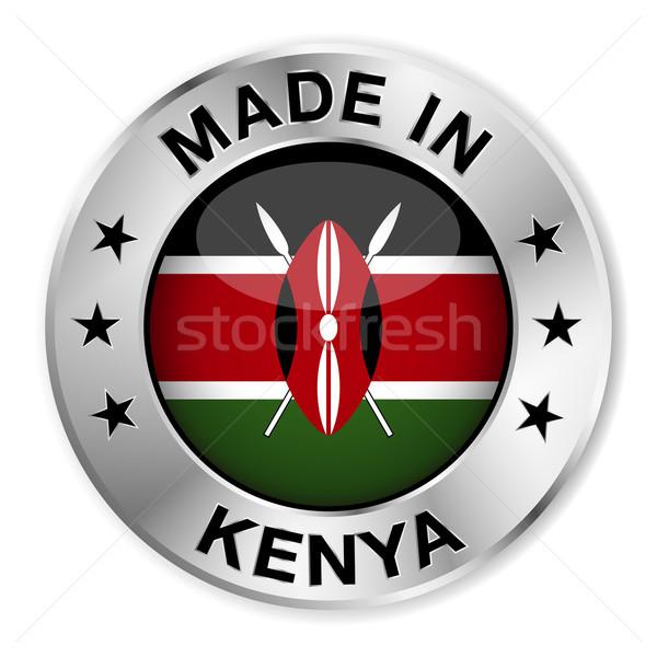 Kenya ezüst kitűző ikon központi fényes Stock fotó © NiroDesign