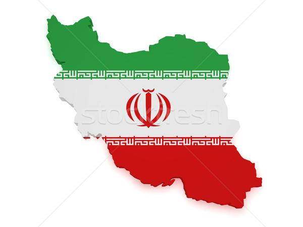 Irán térkép zászló 3D forma izolált Stock fotó © NiroDesign