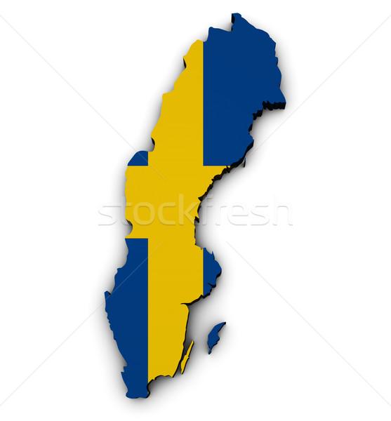 Svezia mappa bandiera 3D illustrazione Foto d'archivio © NiroDesign