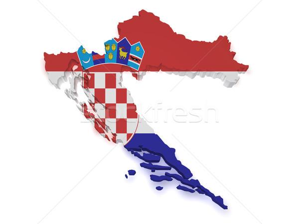 Croácia mapa bandeira 3D forma isolado Foto stock © NiroDesign