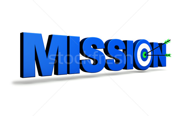 Missie target business Blauw teken twee Stockfoto © NiroDesign