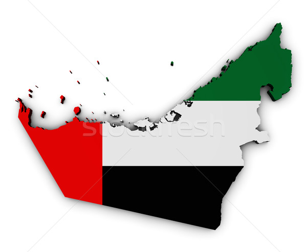 Birleşik Arap Emirlikleri harita bayrak biçim 3D simge Stok fotoğraf © NiroDesign