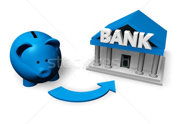Photo stock: économies · investissement · bleu · tirelire · banque