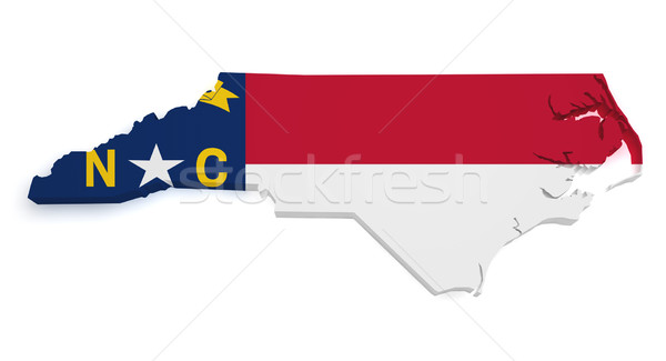 North Carolina vlag kaart 3D vorm geïsoleerd Stockfoto © NiroDesign