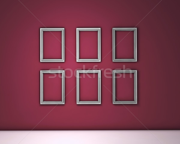 Blank Frames On Red Wall Stock photo © NiroDesign