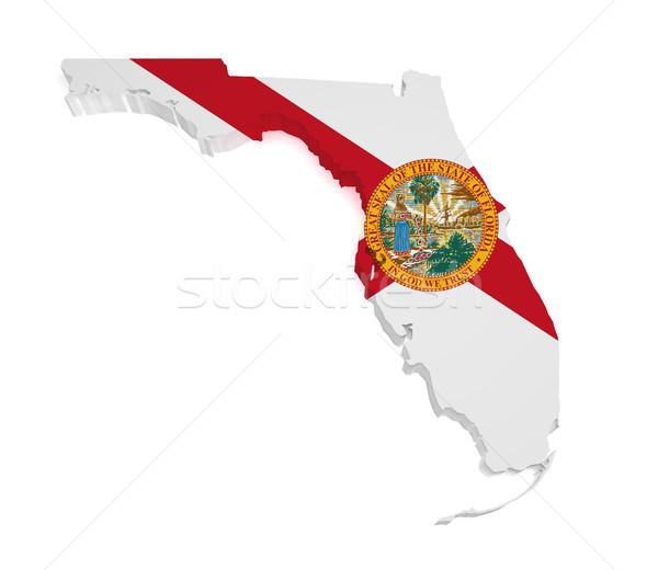 Флорида карта 3D форма флаг изолированный Сток-фото © NiroDesign