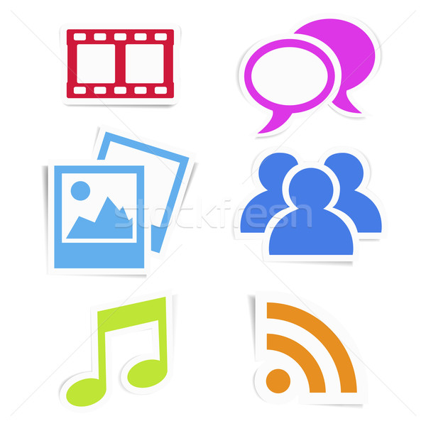Social media kleurrijk stickers web internet iconen Stockfoto © NiroDesign