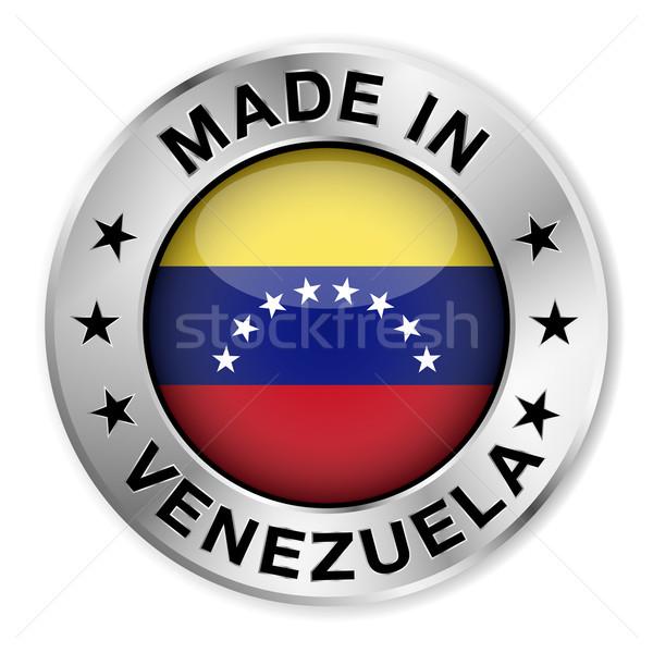 Venezuela ezüst kitűző ikon központi fényes Stock fotó © NiroDesign