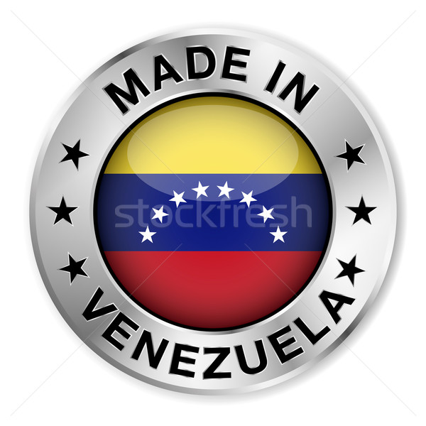 Venezuela argento badge icona centrale lucido Foto d'archivio © NiroDesign