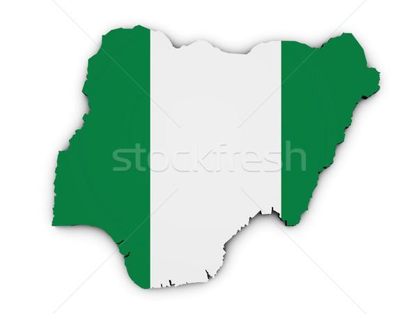 Nigeria mappa bandiera 3D illustrazione Foto d'archivio © NiroDesign