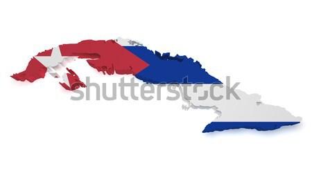 Cuba mappa bandiera 3D isolato Foto d'archivio © NiroDesign