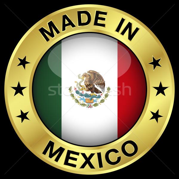 Messico oro badge icona centrale lucido Foto d'archivio © NiroDesign