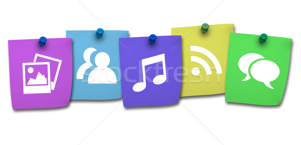 Website icon kleurrijk post-it social media internet Stockfoto © NiroDesign