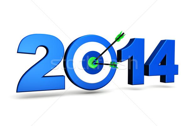 Capodanno 2014 business obiettivo obiettivi blu Foto d'archivio © NiroDesign