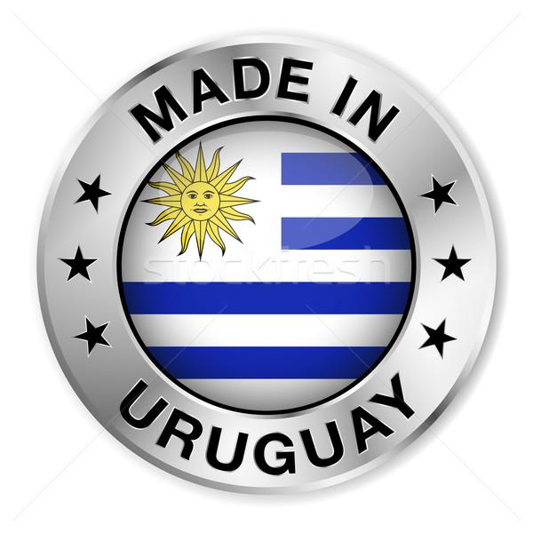 Uruguay argento badge icona centrale lucido Foto d'archivio © NiroDesign