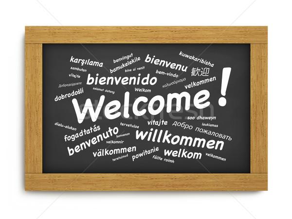 Benvenuto internazionali lavagna testo saluto diverso Foto d'archivio © NiroDesign