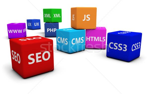 Web design seo internet programmazione lingua segno Foto d'archivio © NiroDesign