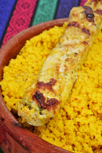 spiced couscous and chicken skewer Stock photo © nito