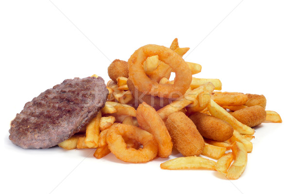 Foto stock: Frito · engorde · alimentos · primer · plano · bandeja · blanco
