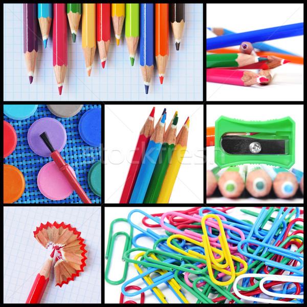 Tanszerek kollázs különböző képek színes ceruzák Stock fotó © nito
