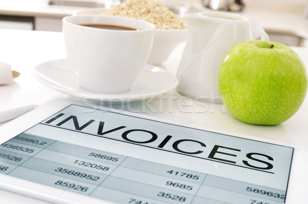 breakfast and invoices Stock photo © nito