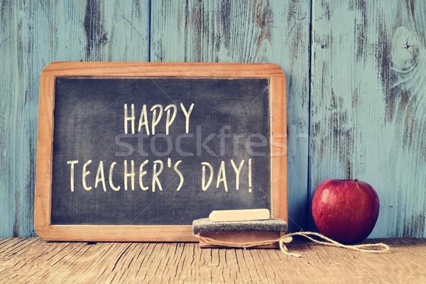 Zdjęcia stock: Tekst · szczęśliwy · nauczycieli · dzień · napisany · Tablica