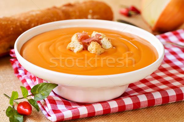 Espagnol soupe à la tomate serrano jambon blanche Photo stock © nito