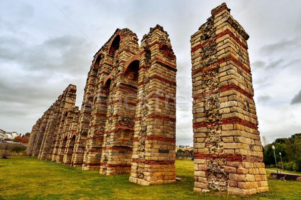 roman aqueduct Acueducto de los Milagros in Merida, Spain Stock photo © nito