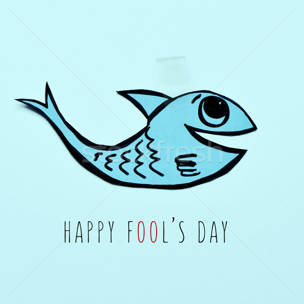 paper fish and text happy fools day Stock photo © nito
