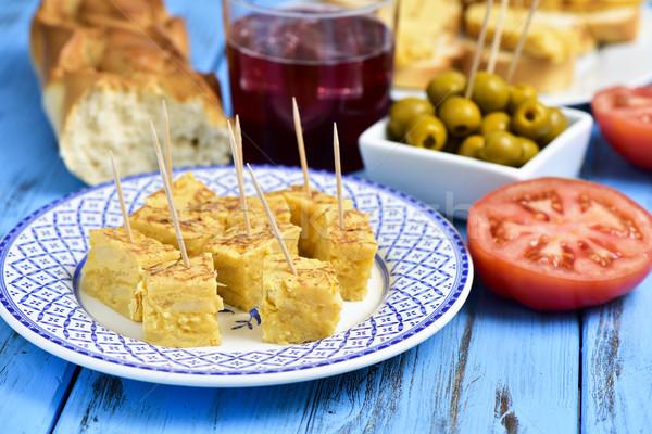 spanish omelet, olives and tinto de verano Stock photo © nito