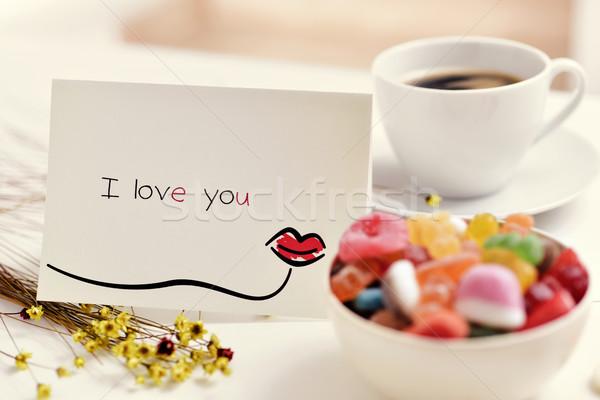 Stockfoto: Briefkaart · tekst · liefde · tabel · eigengemaakt · kus