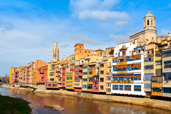 Girona, in Spain, and Onyar River Stock photo © nito