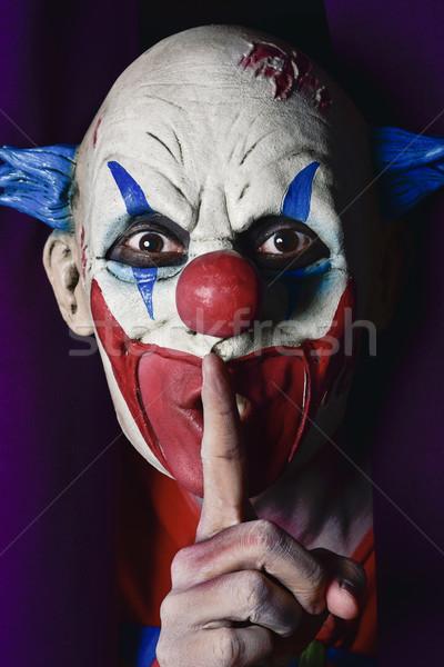 Ijesztő gonosz bohóc kérdez csend ki Stock fotó © nito