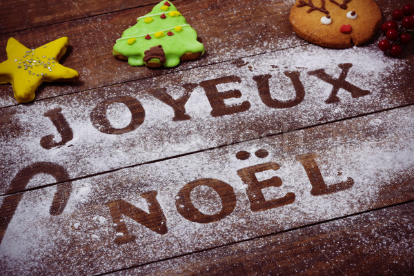 text joyeux noel, merry christmas in french Stock photo © nito