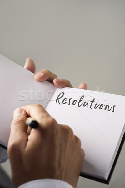 男 書く ノートブック クローズアップ 小さな 白人 ストックフォト © nito