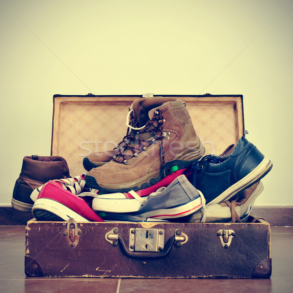 shoes in an old suitcase Stock photo © nito