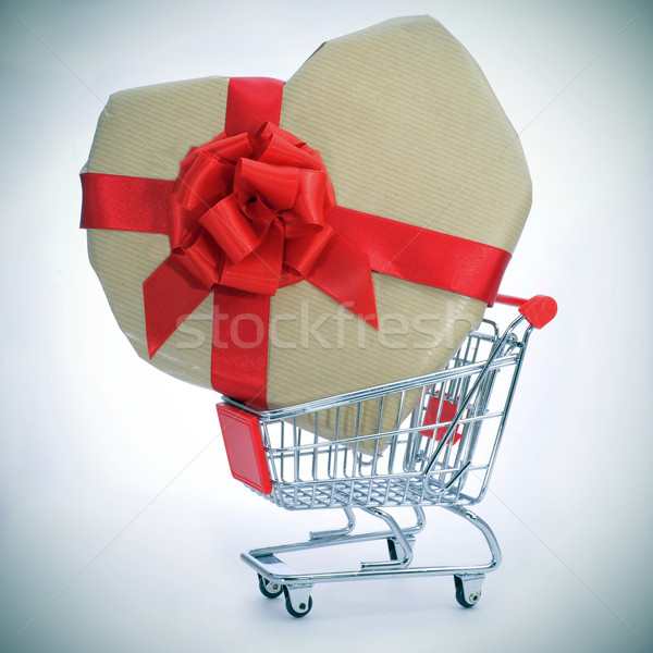 heart-shaped gift in a shopping cart Stock photo © nito