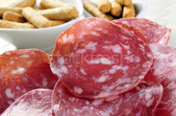 slices of salchichon, spanish cured sausage Stock photo © nito