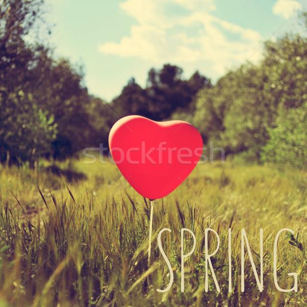 Słowo wiosną balon kraju krajobraz czerwony Zdjęcia stock © nito