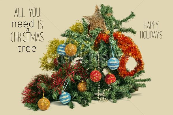 Törött karácsonyfa szöveg összes szükség csillag Stock fotó © nito