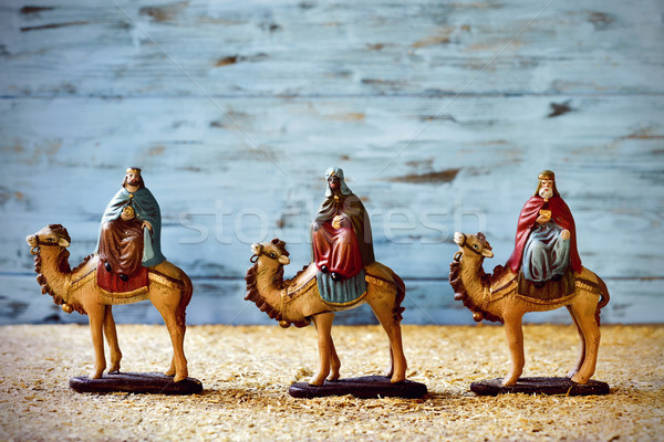 Três reis camelos presentes bebê jesus Foto stock © nito