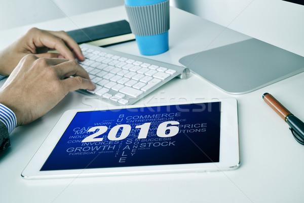 üzletember címke felhő célok 2016 tabletta Stock fotó © nito