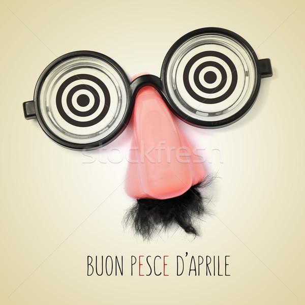 Texto feliz dia italiano falsificação óculos Foto stock © nito