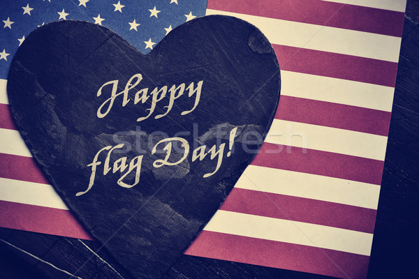 text happy flag day and flag of the United States Stock photo © nito