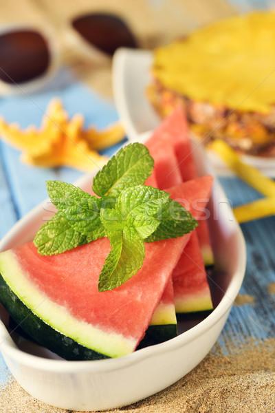 watermelon, pineapple, starfish and sunglasses Stock photo © nito